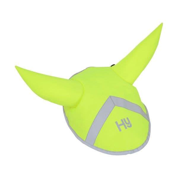 Reflector ear bonnet by hy equestrian - yellow